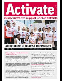 Cover of the July issue of Activate featuring a photo of members outside parliament
