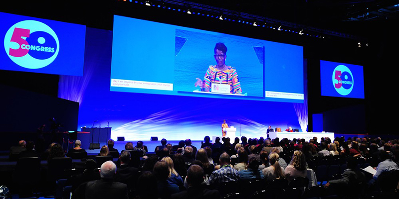 RCN President Cecilia Anim speaks from the dais at Congress 2017