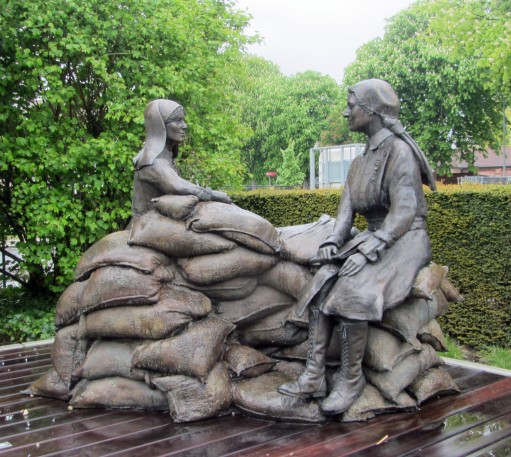 Statue of Mairi Chisholm and Elsie Knocker at Ypres, Belgium;  Credit: Great War 100 Reads