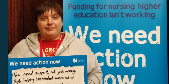 Jemma James, RCN Northern region student, at Westminster to lobby MPs on student funding