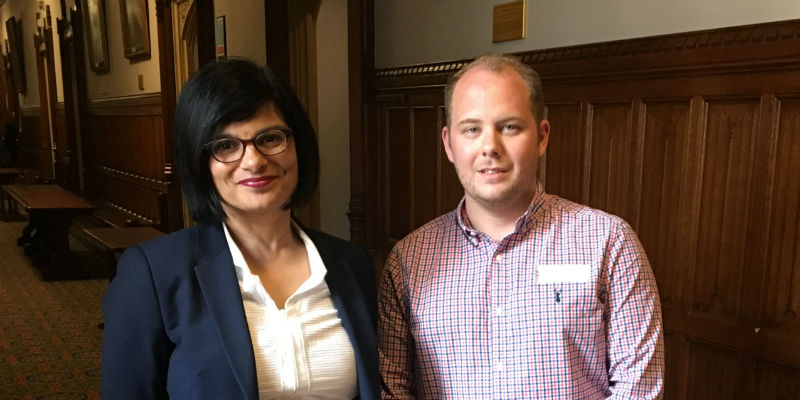 Michael Lawton with Thangam Debbonaire MP at a lobbying event on the postgraduate NHS bursary