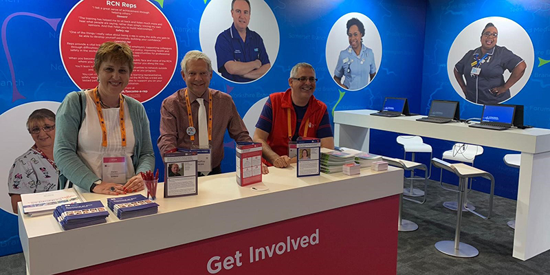 Senior RCN Officer Helen Hancox, RCN Council South West member Geoffrey Walker and Regional Service Manager Tony Aspinall at the RCN South West stand at RCN Congress 2019
