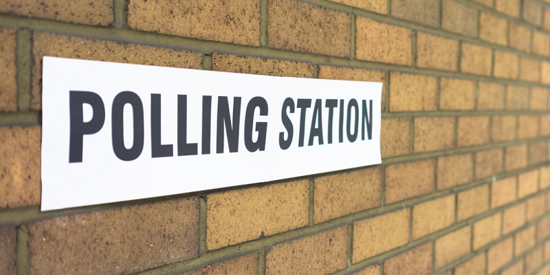 Election polling station sign