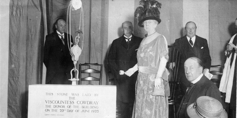 Lady Cowdray laying the Foundation stone for 20 Cavendish Square