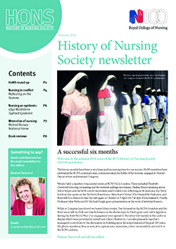 Cover of autumn 2016 issue of HoNS newsletter