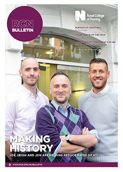 Front cover of December issue of RCN Bulletin, showing three nurses outside a clinic