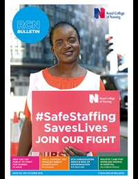 Bulletin October front cover woman holding safe staffing banner