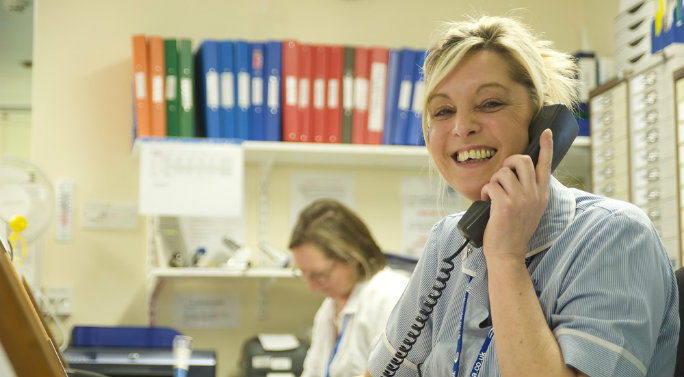 Student nurse on telephone