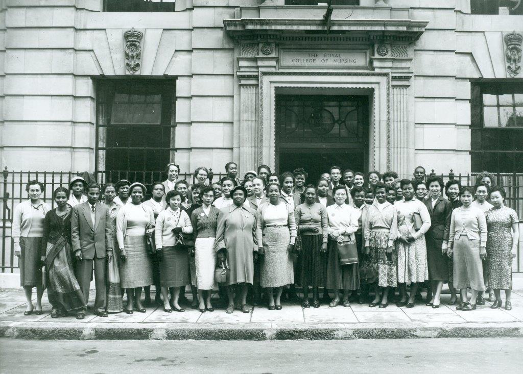 International students outside the RCN College entrance 1957