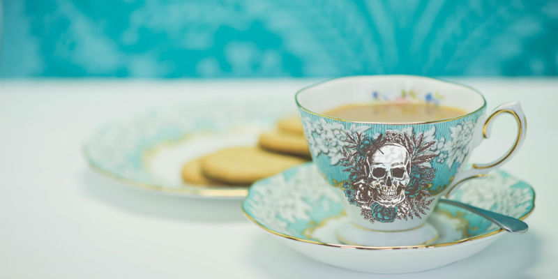 Death Cafe blue tea cup