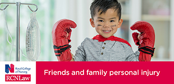Boy in hospital wearing boxing gloves - advert for RCNLaw
