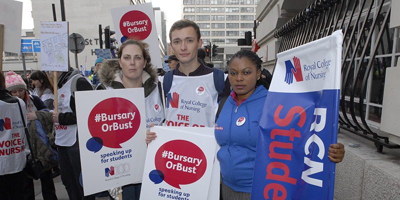 Students protest against bursary cut