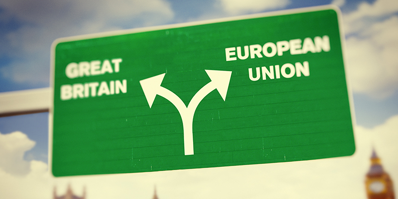 Britain separating from EU road sign