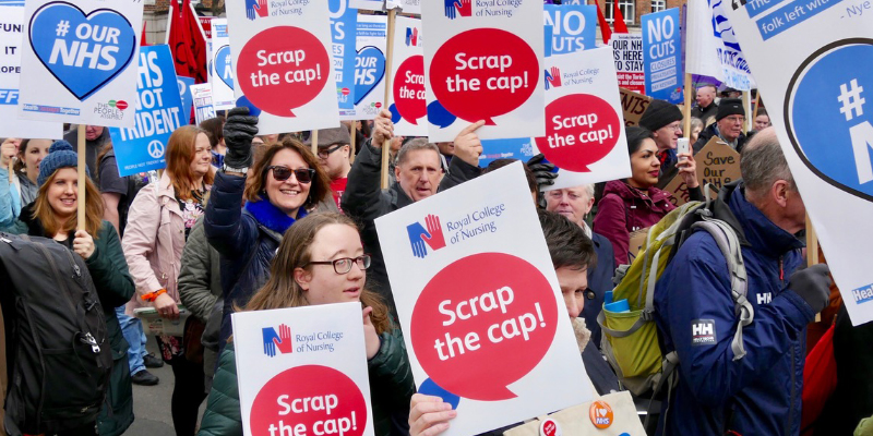 RCN members march over pay