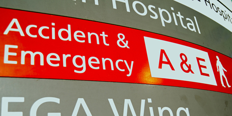 A&E department sign