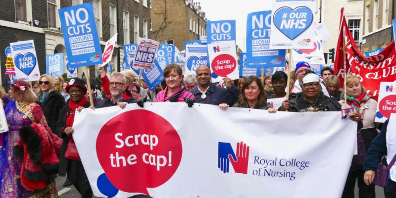 RCN members including Northern Council member Gordon Lees marching for the NHS