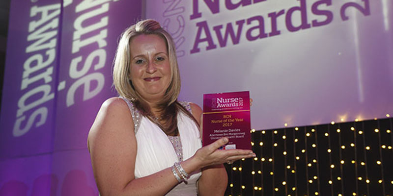 RCN Nurse of the Year Melanie Davies collecting her award