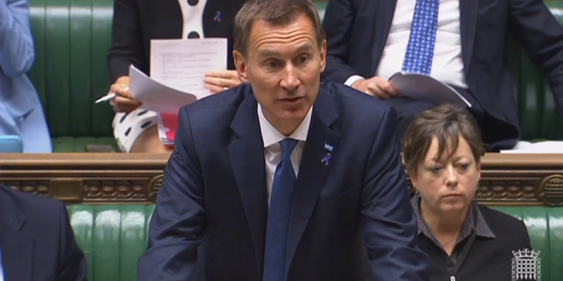 Jeremy Hunt speaking in Parliament