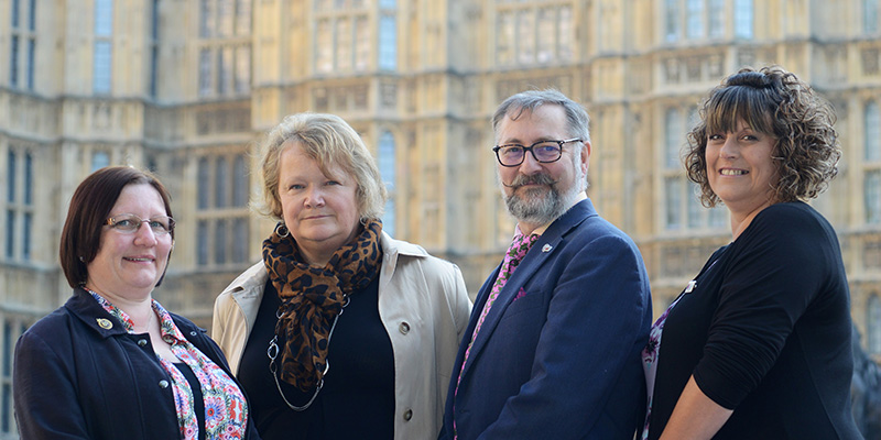 RCN members and staff outside the Houses of Parliament including Denise McLaughlin, Kim Sunley, Billy Nichols and Alison Upton