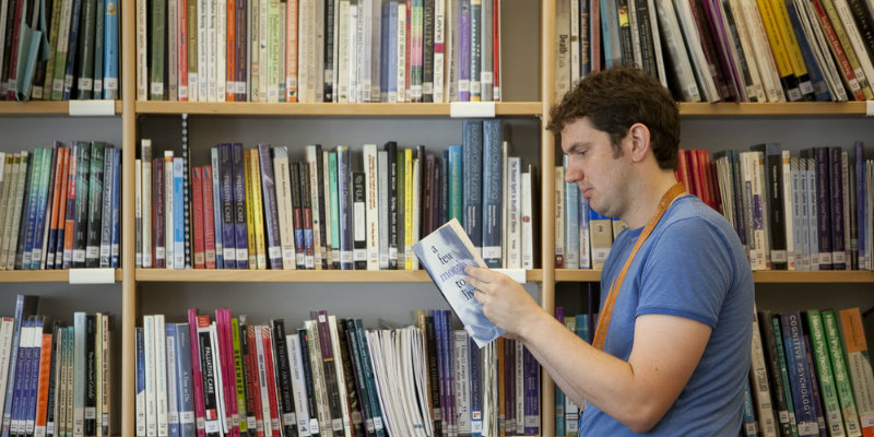 Student nurse in library