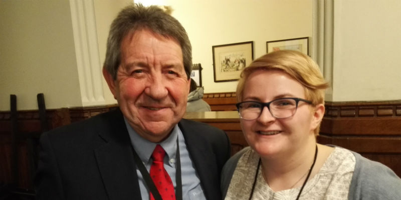 South West University of West England student Julie Terry with Gordon Henderson MP