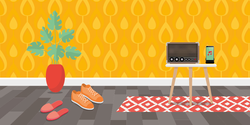 An illustrated household scene showing a pair of slippers next to a pair of trainers and a side table with an old radio next to a smartphone playing music