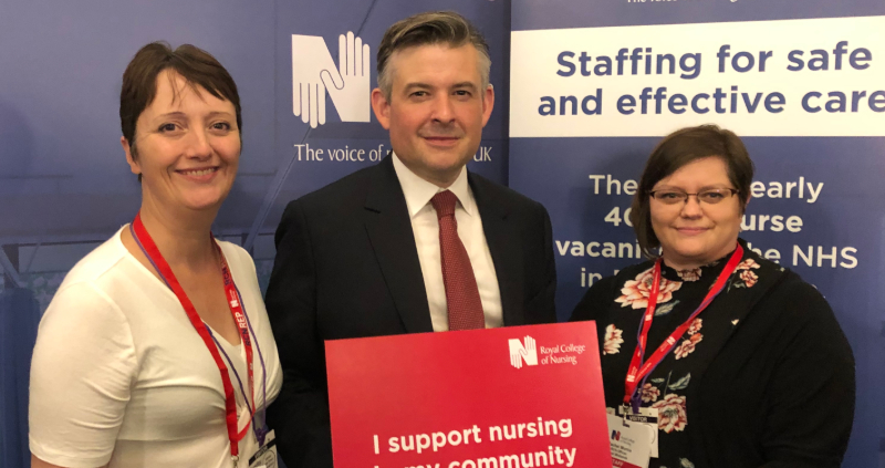 Members Sarah Stock and Rachel Morris with Jon Ashworth MP
