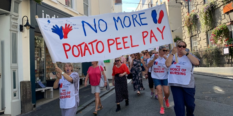 Members in Guernsey march for fair nursing pay