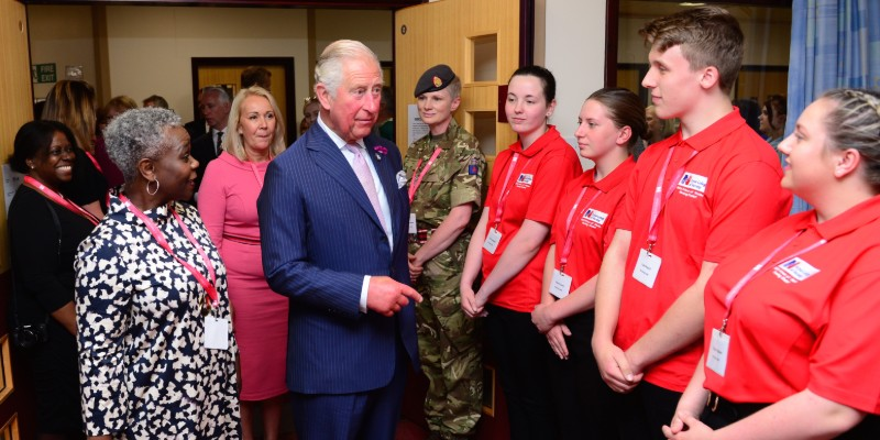 HRH the Prince of Wales and RCN Chief Executive Dame Donna Kinnair meet members of the nursing cadet scheme