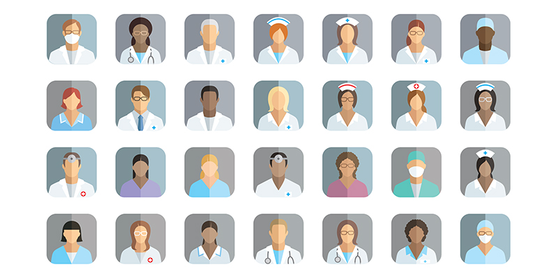 Graphic of various health care staff