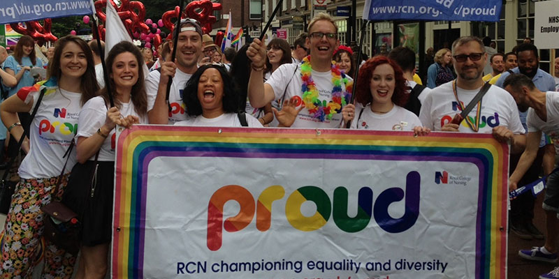 RCN staff and members marching at Pride London