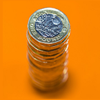 Image of a stack of pound coins