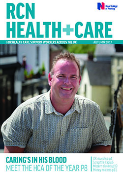 Front cover of autumn 2017 issue of RCN Health+Care magazine