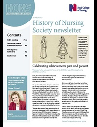 Cover of autumn 2017 issue of the RCN History of Nursing Society newsletter