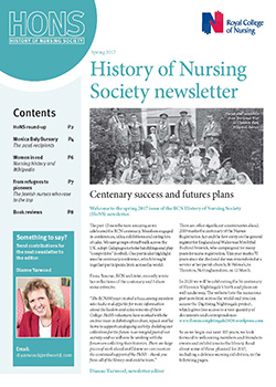 Front cover of spring 2017 issue of HoNS newsletter