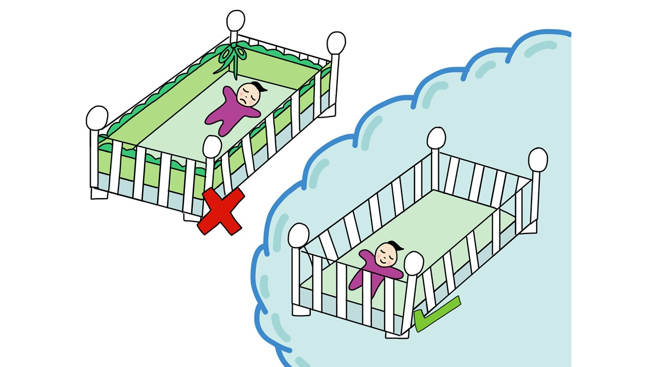 two way of placing an infant in cot