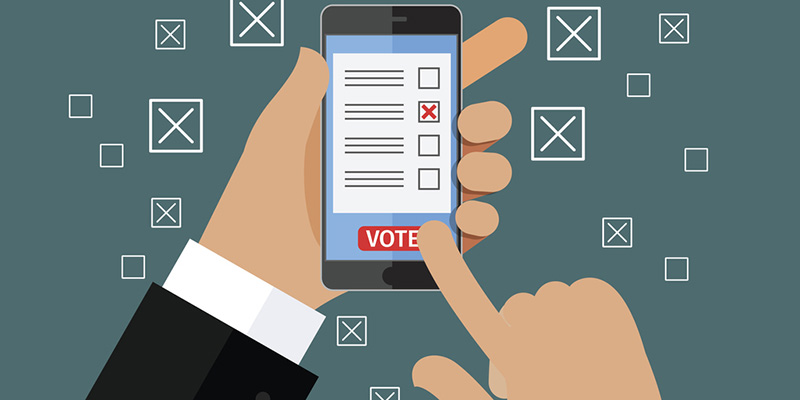 Illustration of man voting on smartphone