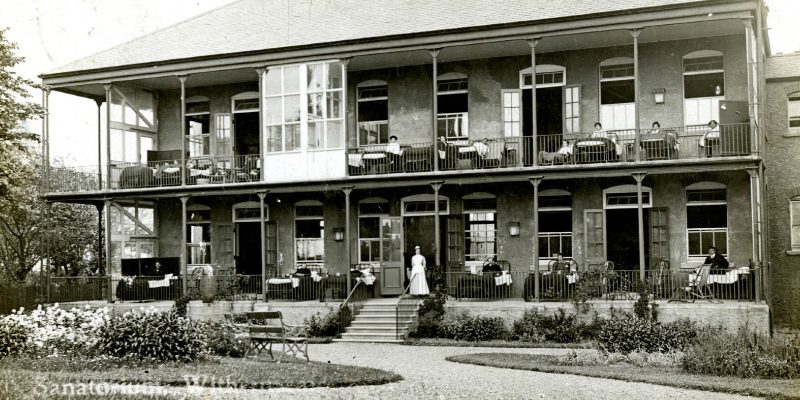 Sanatorium at Withernsea, 1906 shows patients and nurses sitting outside on porches and balconies.
