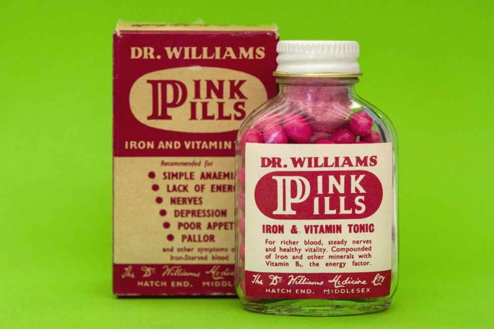 Dr Williams pink pills for pale people, late nineteeth century. Advertised as an iron rich tonic for the blood, these pills claimed to be a miracle cure for a variety of ailments, including anaemia, hysteria and 'change of life.' Loaned from the Royal Pharmaceutical Society. Photo credit: Phil Coomes.