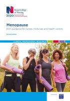 RCN Menopause guidance PDF cover