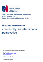 Moving care to the community: an international perspective (policy briefing 12/13, updated December 2014)