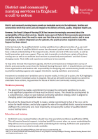 District and community nursing services in England: a call to action (policy briefing 13/14)