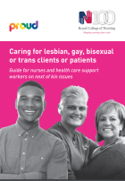 Royal College of Nursing (2016) Caring for lesbian, gay, bisexual and trans clients or patients: guide for nurses and health care support workers on next of kin issues, London: RCN.