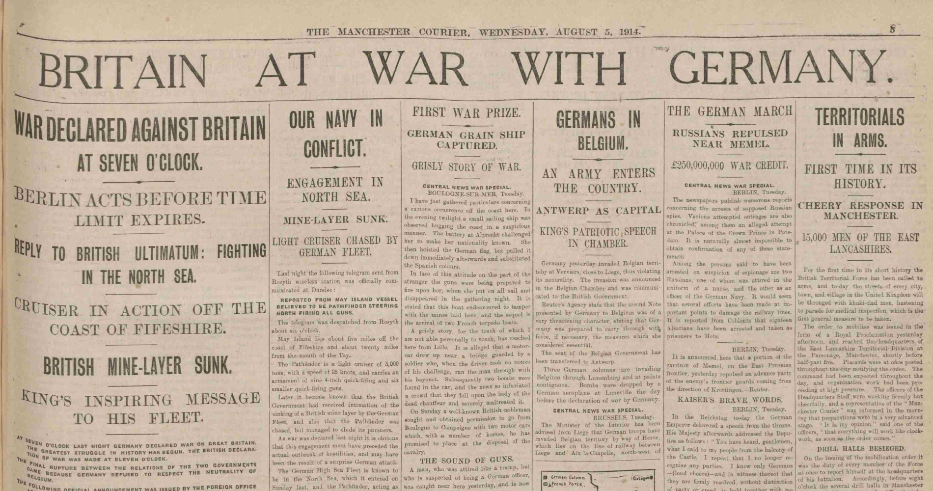 Newspaper clipping declaring war