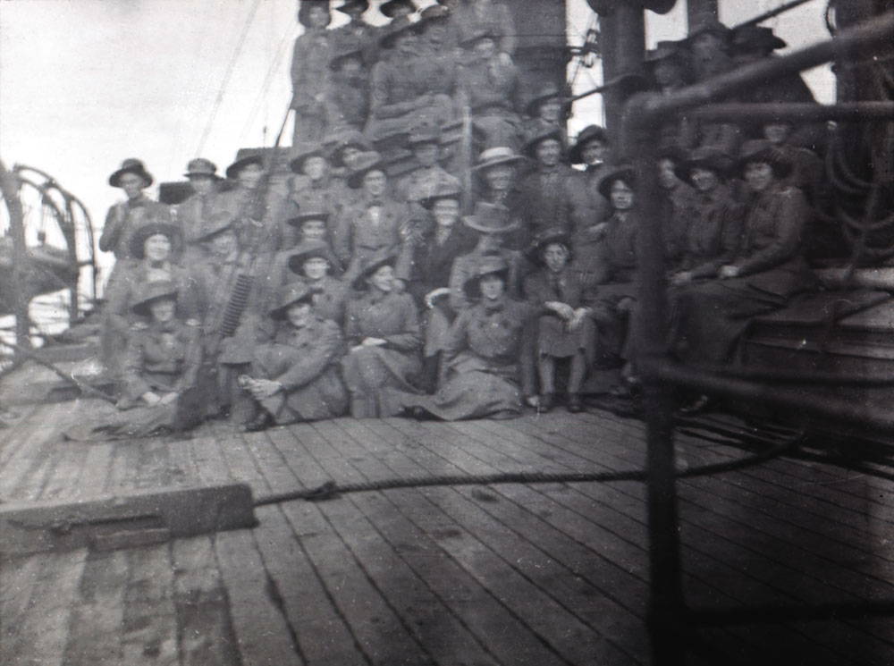 Women of the Scottish Women's Hospitals group aboard ship, possibly bound for Odessa