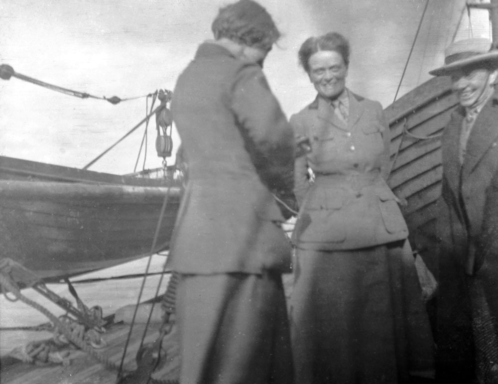 Women of the Scottish Women's Hospitals group including founder Dr Elsie Inglis wearing the 'grey partridges' tartan, Romania.