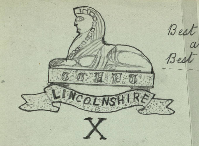 7th Battalion, Lincolnshire Regiment drawn by Private A. Hall