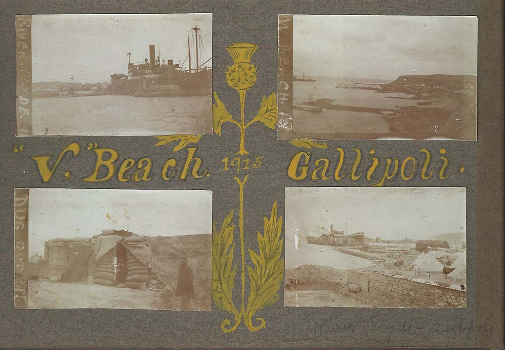 """V."" Beach Gallipoli, 1915. Courtesy of Peter Carter and Family."