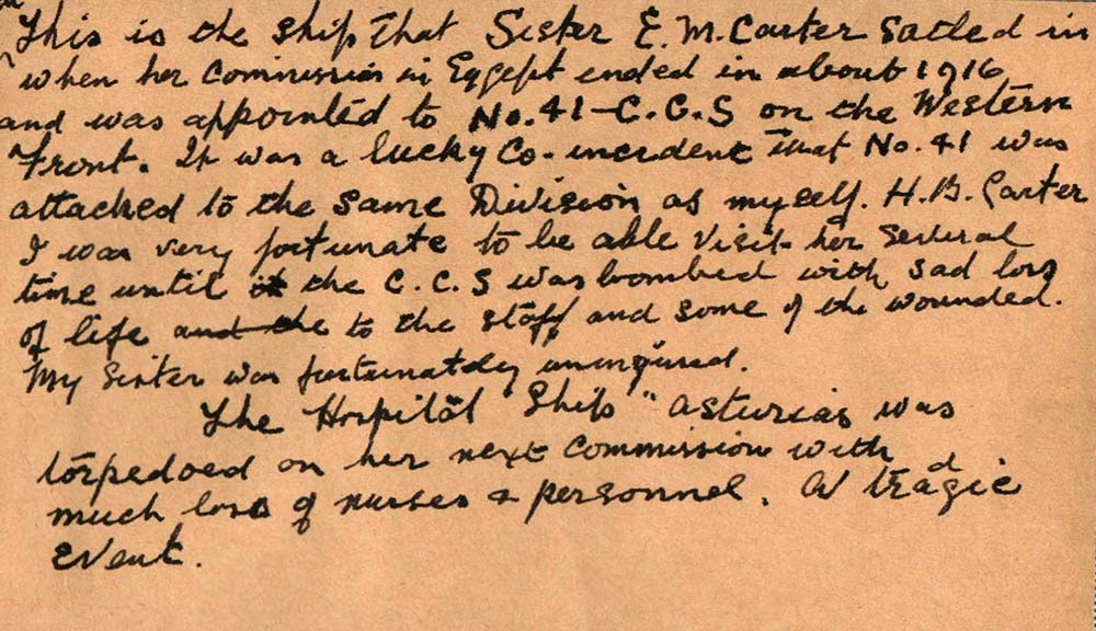 Harry Carter's Handwritten Account of the war. Courtesy of Peter Carter and Family.